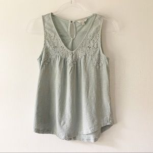 Lucky Brand Swing Tank w/ Embroidered Neckline S